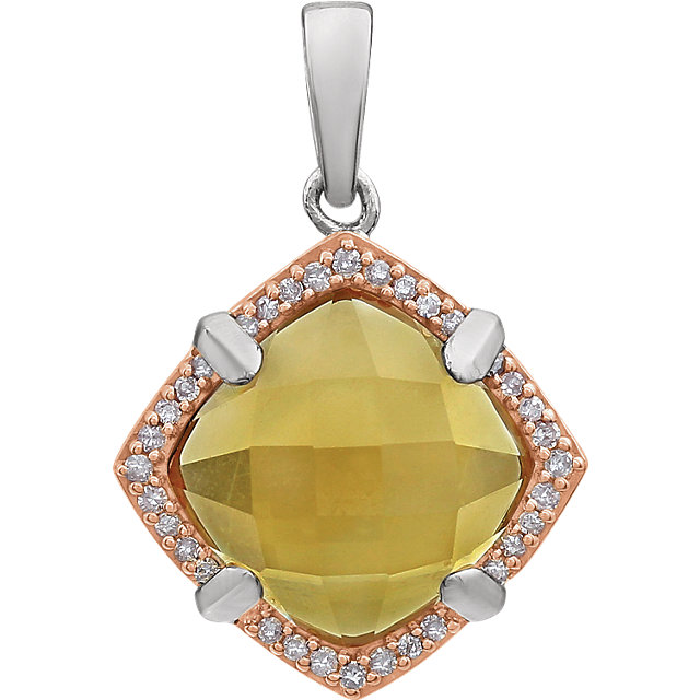 Sterling Silver Rose Gold Plated Citrine & 1/8 Carat Total Weight Diamond Pendant