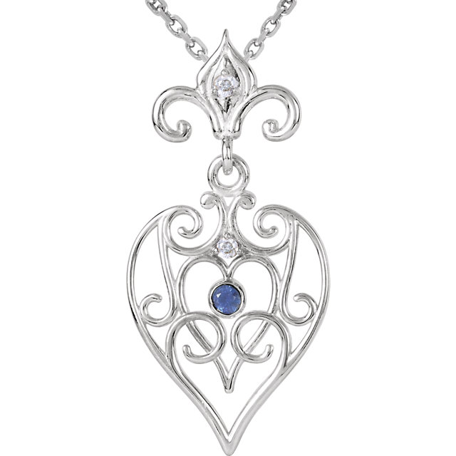 Sterling Silver Sapphire & .025 Carat Total Weight Diamond 18