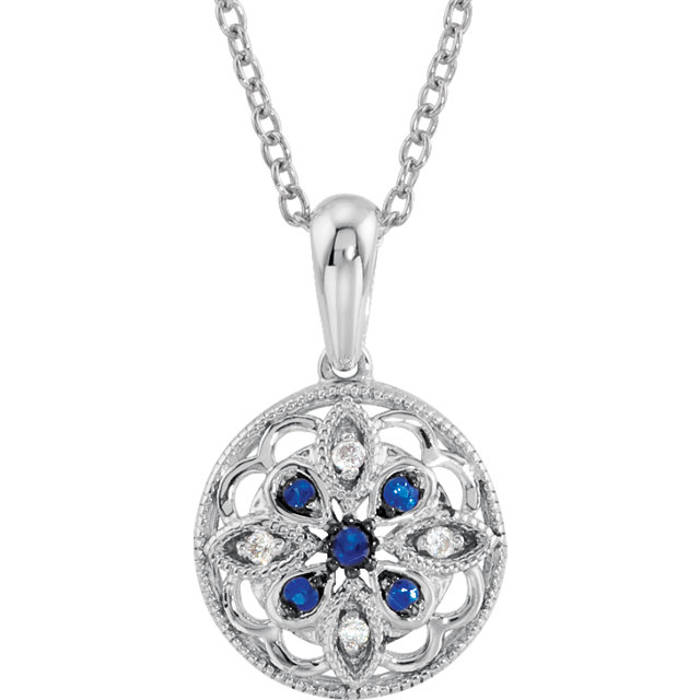 Sterling Silver Sapphire & .03 Carat Total Weight Diamond 18