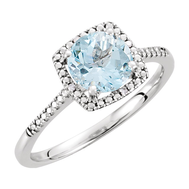 Sterling Silver Sky Blue Topaz & .01 CTW Diamond Ring