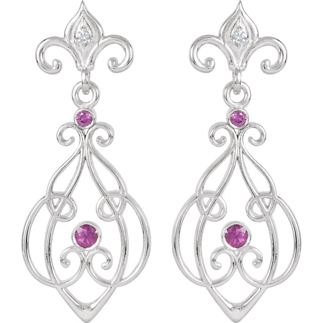 Sterling Silver with 14KT White Gold Post Ruby & .025 Carat Total Weight Diamond Earrings