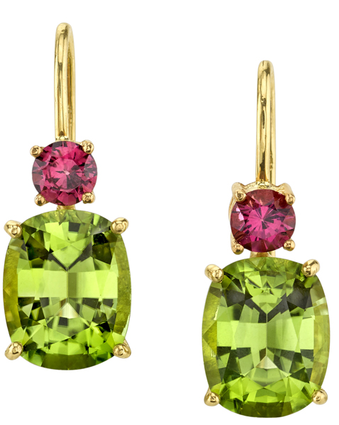 Super Pretty Oval Peridot & Round Garnet 18kt Yellow Gold Wire Back Dangle Designer Earrings