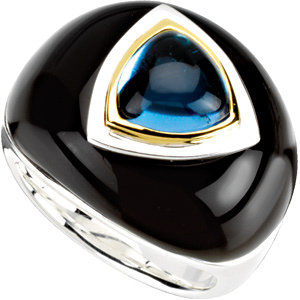 Swiss Blue Topaz & Onyx Dome Ring