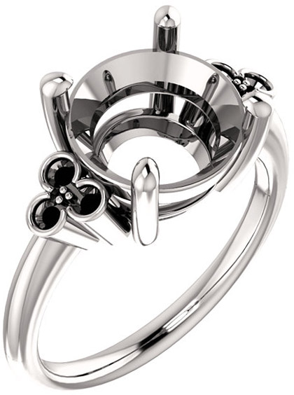 Triple Side Accent Ring Mounting For Round Shape Centergem Sized 5.20 mm to 10.00 mm - Customize Metal, Accents or Gem Type