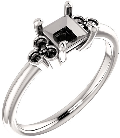 Triple Side Accent Ring Mounting For Square Shape Centergem Sized 5.00 mm to 10.00 mm - Customize Metal, Accents or Gem Type