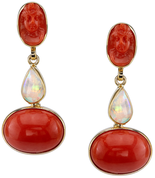 Unique Italian Carve Coral Cameo With Lightening Ridge Opal & Coral Dangle Earrings - 18kt Yellow Gold