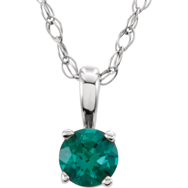 14KT White Gold Chatham Created Emerald