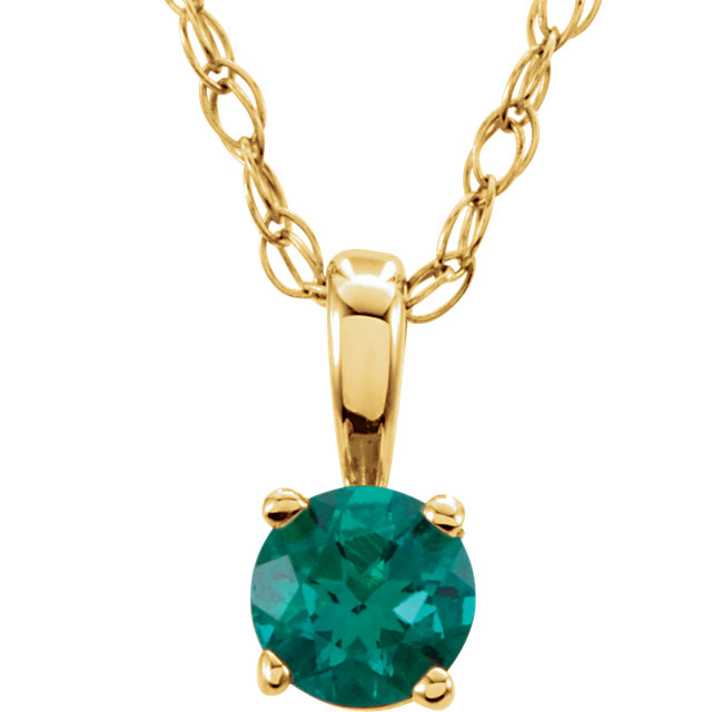 14KT Yellow Gold Chatham Created Emerald