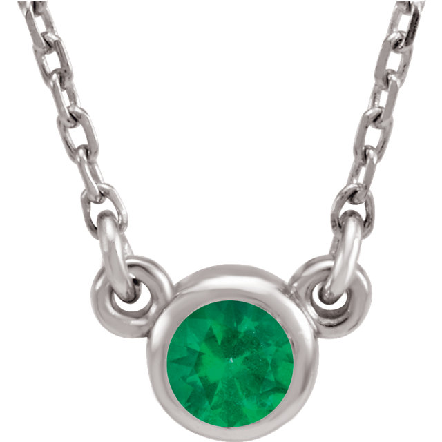 14KT White Gold Chatham Created Emerald 16