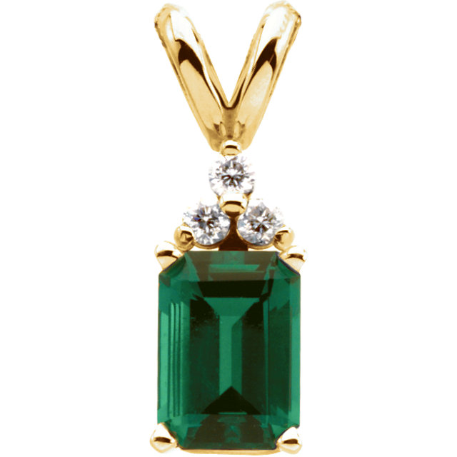 Chatham Created Emerald & .06 Carat Total Weight Diamond Pendant
