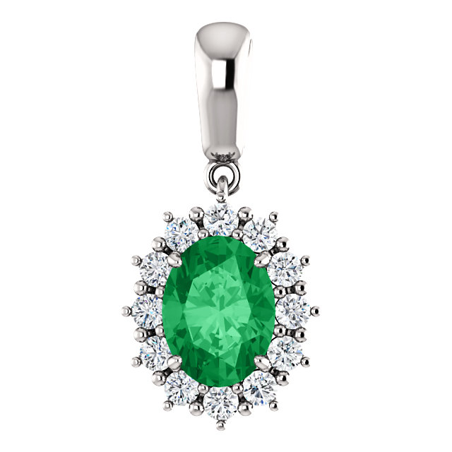 14KT White Gold Chatham Created Emerald & 1/3 Carat Total Weight Diamond Pendant