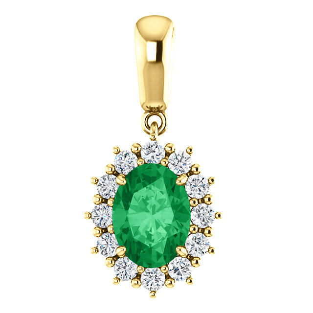 14KT Yellow Gold Chatham Created Emerald & 1/3 Carat Total Weight Diamond Pendant