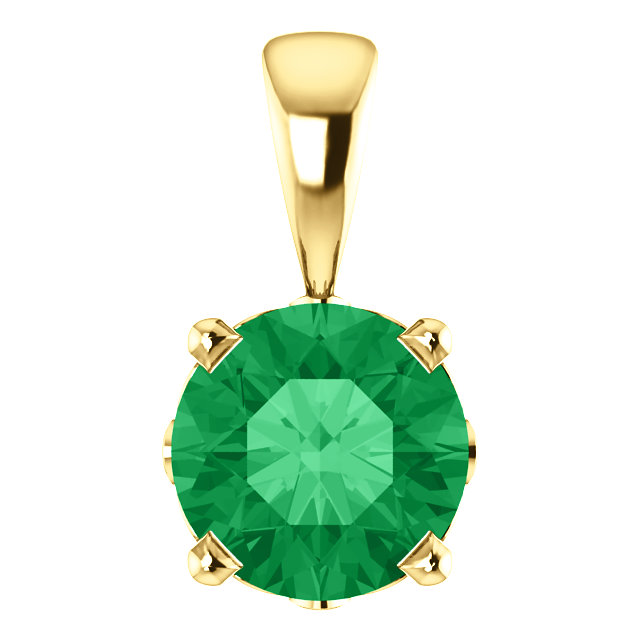 14KT Yellow Gold Chatham Created Emerald Pendant