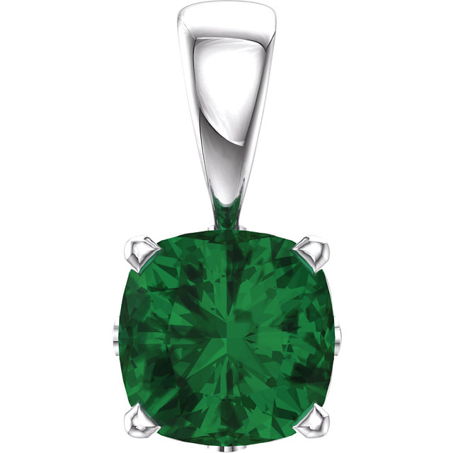 14KT White Gold Chatham Created Emerald Pendant