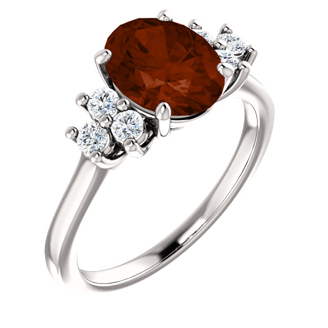 14KT White Gold Garnet Mozambique & 1/4 Carat Total Weight Diamond Ring