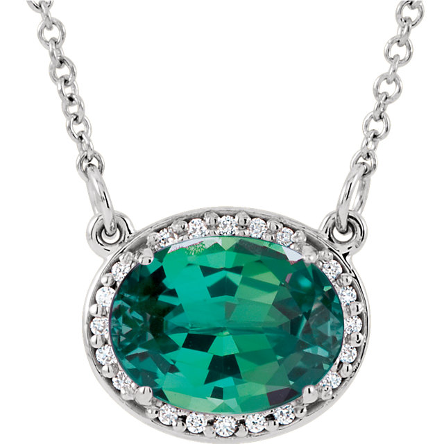 14KT White Gold Chatham Created Emerald and .05Carat Total Weight 16 1/2 Inch Diamond Necklace
