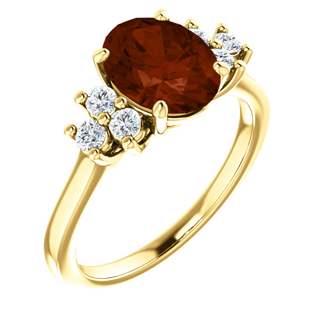 14KT Yellow Gold Mozambique Garnet & 1/4 Carat Total Weight Diamond Ring