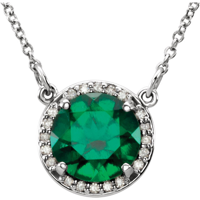 14KT White Gold Chatham Created Emerald & .05 Carat Total Weight Diamond 16
