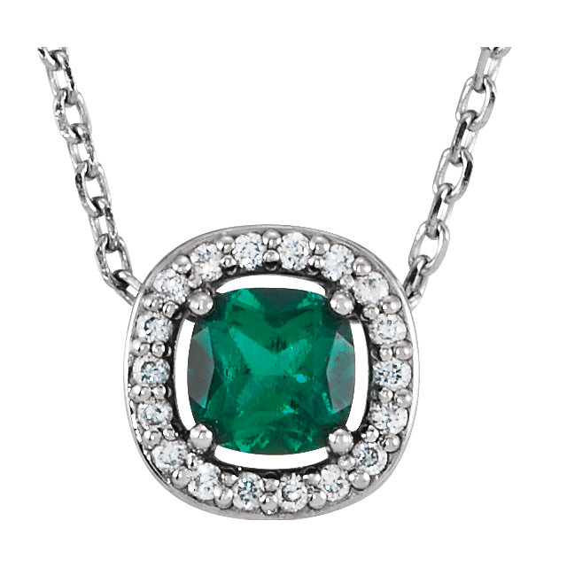 14KT White Gold Chatham Created Emerald & .04 Carat Total Weight Diamond 16