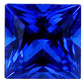 Imitation Blue Sapphire Princess Cut Gems