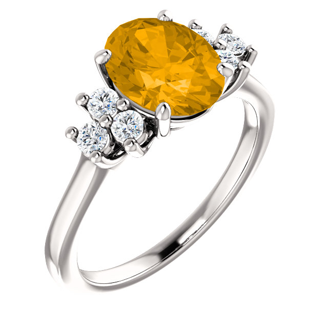 14KT White Gold Citrine & 1/4 Carat Total Weight Diamond Ring