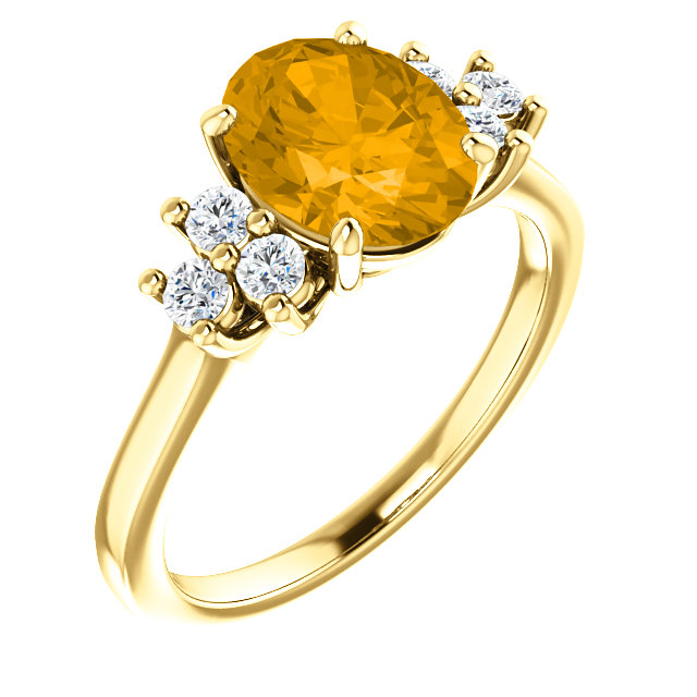 14KT Yellow Gold Citrine & 1/4 Carat Total Weight Diamond Ring
