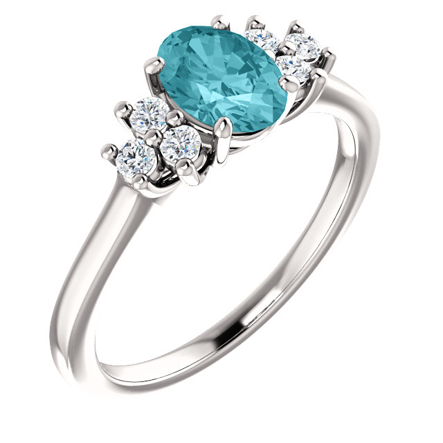 14KT White Gold Blue Zircon & 1/5 Carat Total Weight Diamond Ring