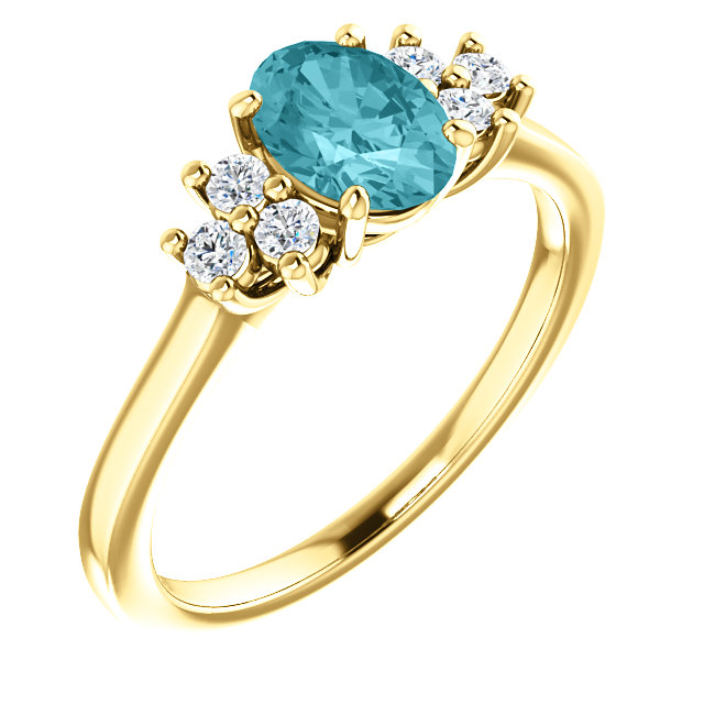14KT Yellow Gold Blue Zircon & 1/5 Carat Total Weight Diamond Ring