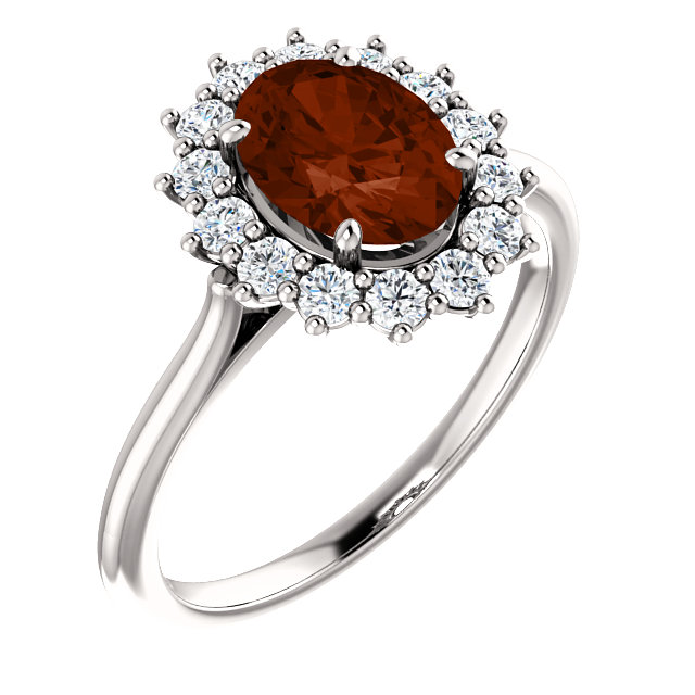 14KT White Gold Mozambique Garnet & 3/8 Carat Total Weight Diamond Ring