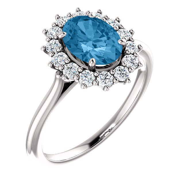 14KT White Gold Swiss Blue Topaz & 3/8 Carat Total Weight Diamond Ring
