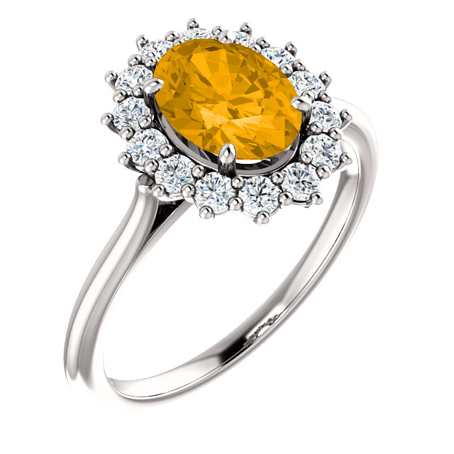 14KT White Gold Citrine & 3/8 Carat Total Weight Diamond Ring