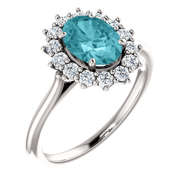 14KT White Gold Blue Zircon & 3/8 Carat Total Weight Diamond Ring
