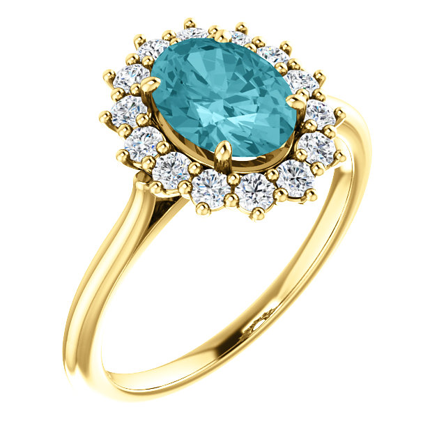14KT Yellow Gold Blue Zircon & 3/8 Carat Total Weight Diamond Ring