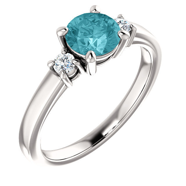 14KT White Gold 6mm Round Blue Zircon & 1/8 Carat Total Weight Diamond Ring