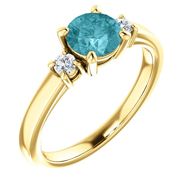 14KT Yellow Gold 6mm Round Blue Zircon & 1/8 Carat Total Weight Diamond Ring
