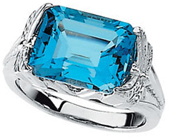 14KT White Gold Swiss Blue Topaz Ring
