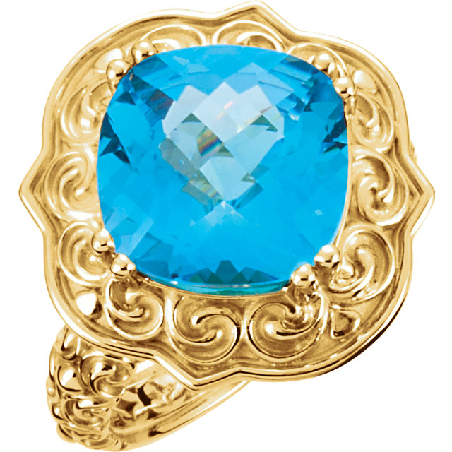 14KT Yellow Gold Swiss Blue Topaz Sculptural Ring