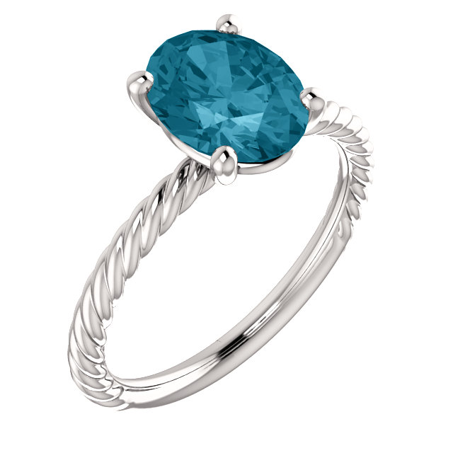 14KT White Gold London Blue Topaz Ring