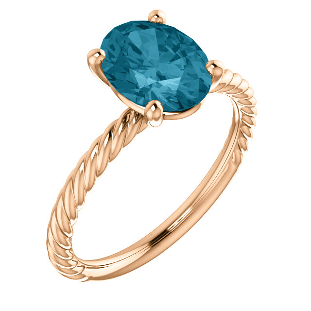 14KT Rose Gold London Blue Topaz Ring