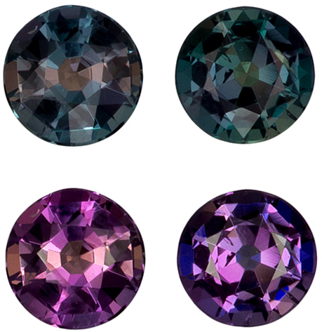 Fine Brazilian Alexandrite Pair in Round Cut, 100% Change Teal Blue Green to Burgundy, 3.5 mm, 0.41 carats