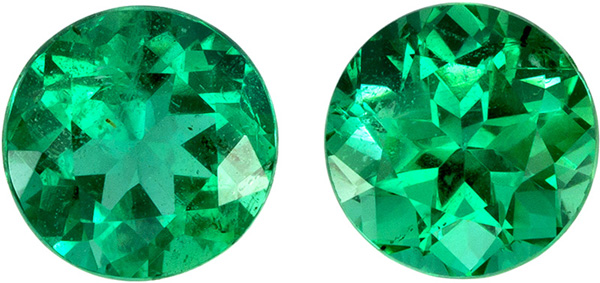 Matched Pair of Super Fine Emeralds in Round Cut, Vivid Medium Green Color in 6.1 mm, 1.78 carats