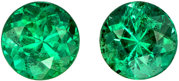 Ultimate Emerald Pair, Rich Vivid Green Incredible Color, Large Size of 6.7 mm, 2.21 carats