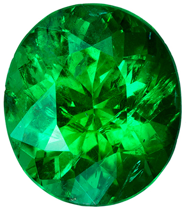 Fiery Brazilian Emerald Loose Oval Gem, Stunning Vivid Rich Green Color in 8.5 x 7.4 mm, 1.53 carats