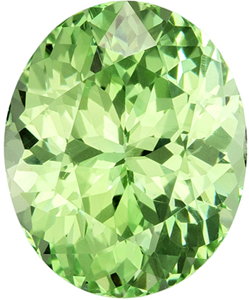 Mint Green Oval Cut Garnet Loose Gem, Neony Mint Green, 8.2 x 6.7 mm, 2.17 carats
