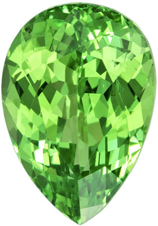 Mint Green Pear Cut Grossular Garnet Loose Gem, Intense Mint Green, 7.4 x 5.1 mm, 1.06 carats