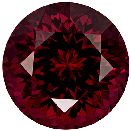 Very Bright Round Cut Rhodolite Loose Gem, Vivid Raspberry Red, 8.8 mm, 3.86 carats