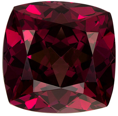 Rare Rhodolite Gemstone in Cushion Cut, Rose Tinged Raspberry, 10.1 x 10 mm, 6.58 carats