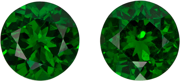 Optimum Well Matched Pair of  Vivid Green Tsavorites in Round Cut,5.6 mm, 1.56 carats