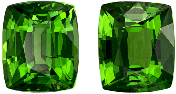 Rare Matched Pair of Tsavorite in Cushion Cut, Rich Grass Green, 6.4 x 5.3 mm, 2.17 carats