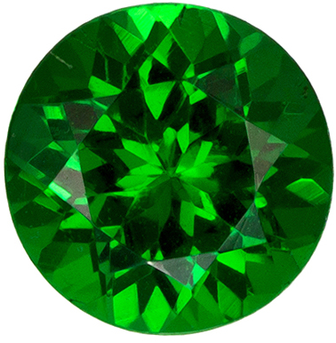 Bright & Lively Tsavorite Gemstone in Round Cut, Vivid Grass Green, 5.1 mm, 0.65 carats
